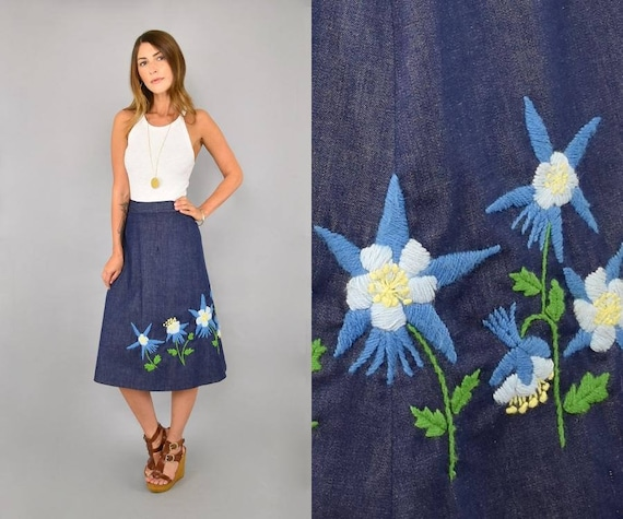 70's Embroidered Denim Wrap Skirt