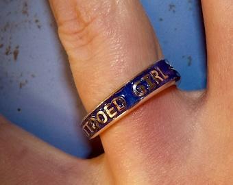 Motel 66 Neon Tattooed Girl Las Vegas Sign Showgirls Americana Silver Ring
