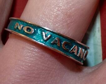 Motel 66 Neon NO VACANCY Las Vegas Sign Showgirls Americana Silver Ring