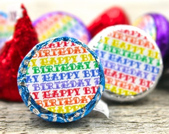 Birthday party candy stickers, Hershey Kiss stickers, Happy Birthday stickers in rainbow colors, candy stickers, candy labels, kiss labels