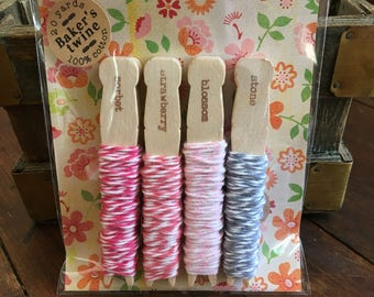Baker's Twine Kit, bundle of four colors, 20 yards total, 100% cotton twine, made in USA, crafting or gift wrap, pink stripes pack, sampler