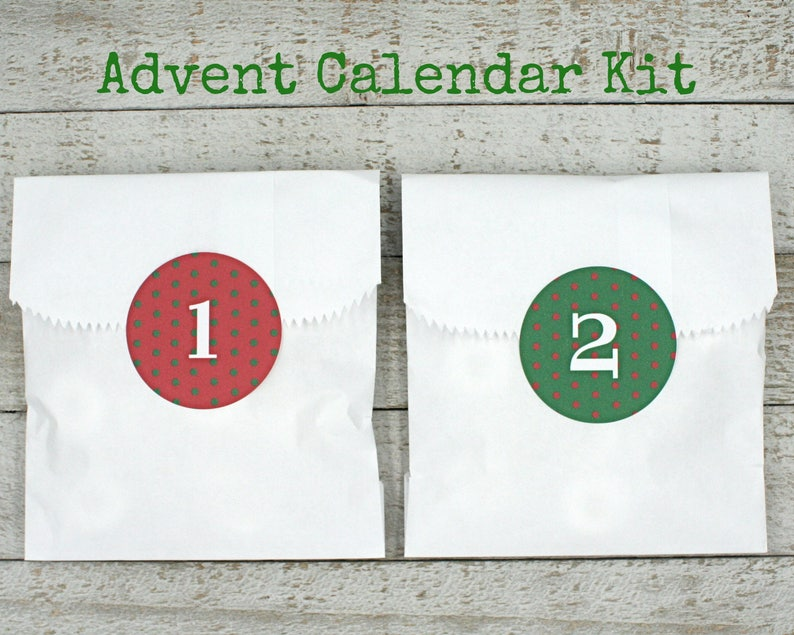 162a03a106c5 Advent calendar kit, Christmas countdown stickers and favor bags, green and  red polka dots, advent calendar, kids advent activity