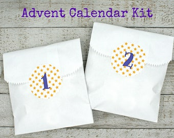 Advent calendar kit, Christmas countdown stickers and favor bags, yellow stars with royal purple numbers, advent calendar, advent activity