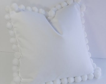 Pom Pom White Cotton pillow cover - Decorative pillow - throw pillow - accent pillow - Cottage chic pillow