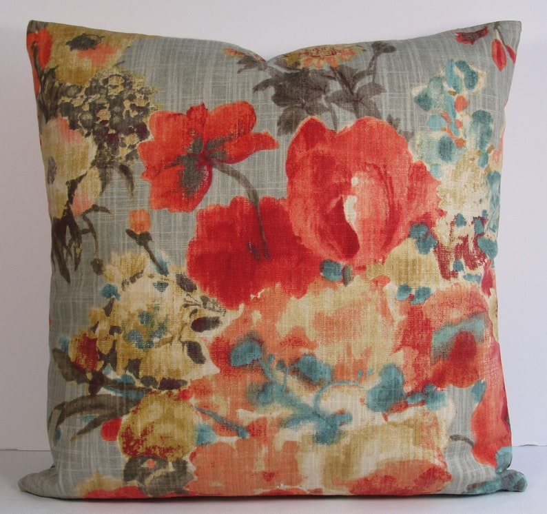 Red floral decorative pillow cover in teal tan black red  fc34d27c994a