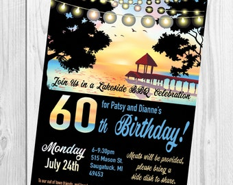 60th Birthday Lake Party Invitation Beach Party Lights Birds Sunset Soiree Printable Invitation
