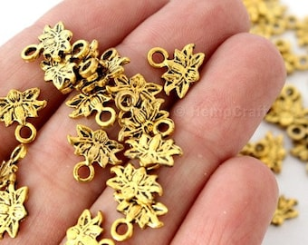 50 Antique Gold Finish Lotus Blossom Shaped Charms - 10mm x 10mm - Lead-Free Zinc Alloy - Waterlily, Flower, Enlightenment, Sacred, Bloom