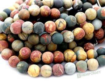Picasso Jasper Gemstone Beads, 8mm Frosted Gemstone, Full Strand, 45 pcs