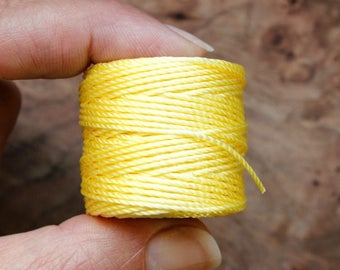 5 Yards YELLOW SUN Nylon Silk Chinese Knot Shamballa Macrame Knotting Beading String Thread Cording 0.8 mm 0.8mm Braided NYLON Cord