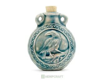 Raven Ceramic Bottle Pendant with Raku Glaze, 1pc