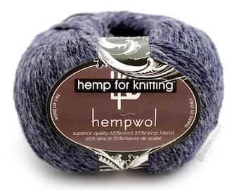 Navy Blue Hemp Yarn, 250yd Hemp Wool Blend