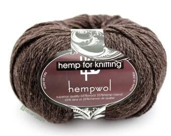 Brown Hemp Yarn, 250yd Dark Brown Hemp Wool Blend