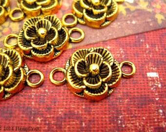 SALE - Rose Charms, Gold Colored Bracelet Connectors, 12mm