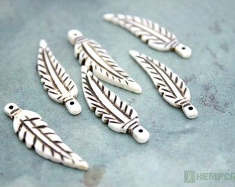 Bone Feather Pendants, 6pc, 34mm Carved Bone Beads, Boho Feather Beads