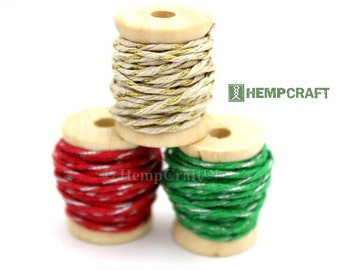 Hemp Twine Mini Spools, Christmas Sparkle Combo, High Quality 1mm Hemp Crafting Cord