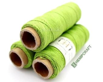 Thin Hemp Twine, Micro Macrame Cord, Lime Green High Quality .5mm Hemp Beading Cord