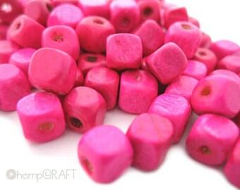 Wood Cube Beads, Dark Pink, 50pc, 5mm