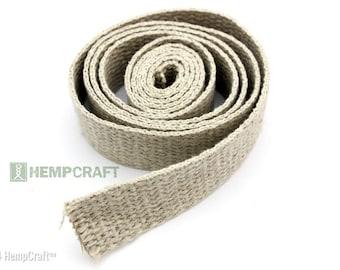 Natural Hemp Webbing, 1 Inch Fiber Strap, 4ft Length