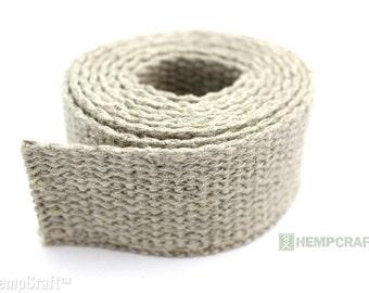 Natural Hemp Webbing, 1.25 Inch Fiber Strap, 4ft Length