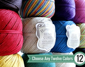 BULK DEAL - Choose Any 12 (Twelve) Solid Color Balls of 1mm Hemptique™ Brand Hemp Twine - Eco-Friendly, Colorfast, and Biodegradable!