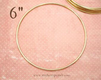 "Craft Ring, 6"" Dream Catcher Metal Hoop Ring, Brass"