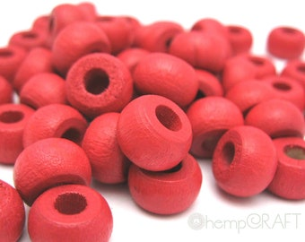 Wood Beads, Fuschia Pink, Hemp Macrame Beads, Wood Crow Beads 6x10mm - Large Hole Beads - 50pc