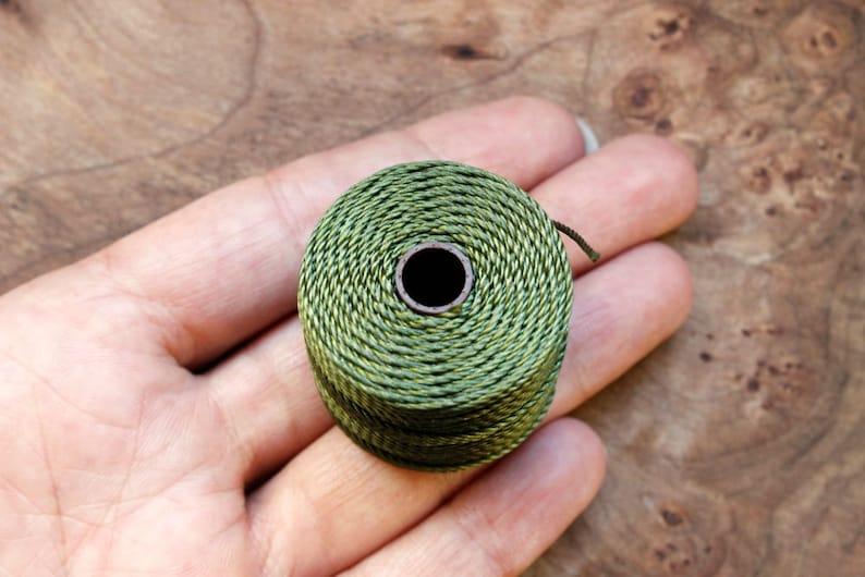 Kumihimo for Micro-Macrame and More Tex 400 S-Lon Nylon Jewelry Cord Olivine Green Beadsmith\u2122 Super-Lon 0.9mm Thick SL400-OLV