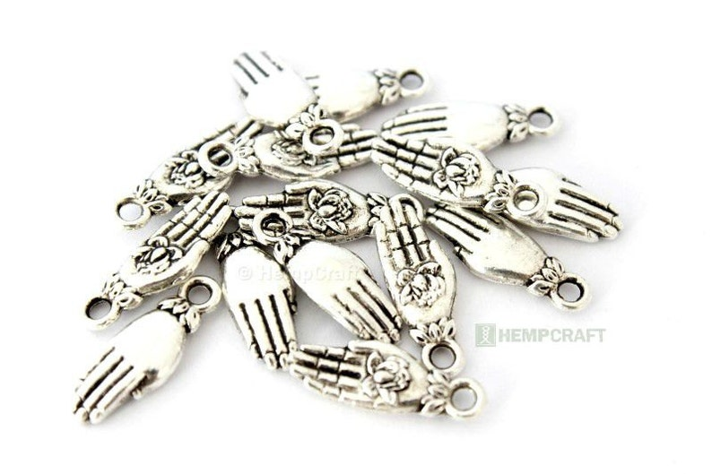 Lotus Flower Hand Charms 15pc Silver Hand Of Giving Charity Etsy