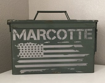 American Hero Personalized Ammo Box Can Army Gift America, Patriotic - Military Gifts for Retirement, Graduation, and Birthdays Weddings