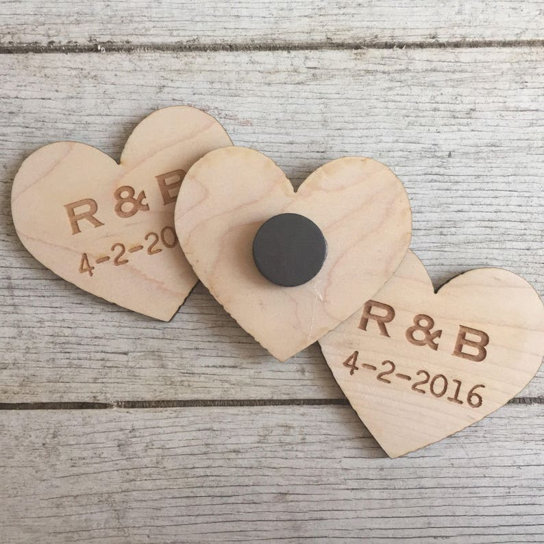 Set of 50 Wood Heart Magnets Wedding Favors Personalized Engraved guests rustic bridesmaids groomsmen christmas birthday event