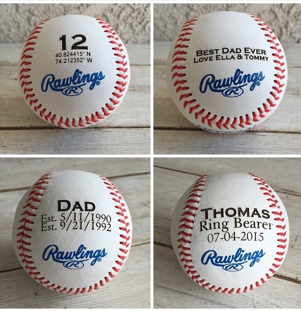 Baseball Wedding Gifts: Personalized Gift: Engraved Baseball Wedding Favor Fathers
