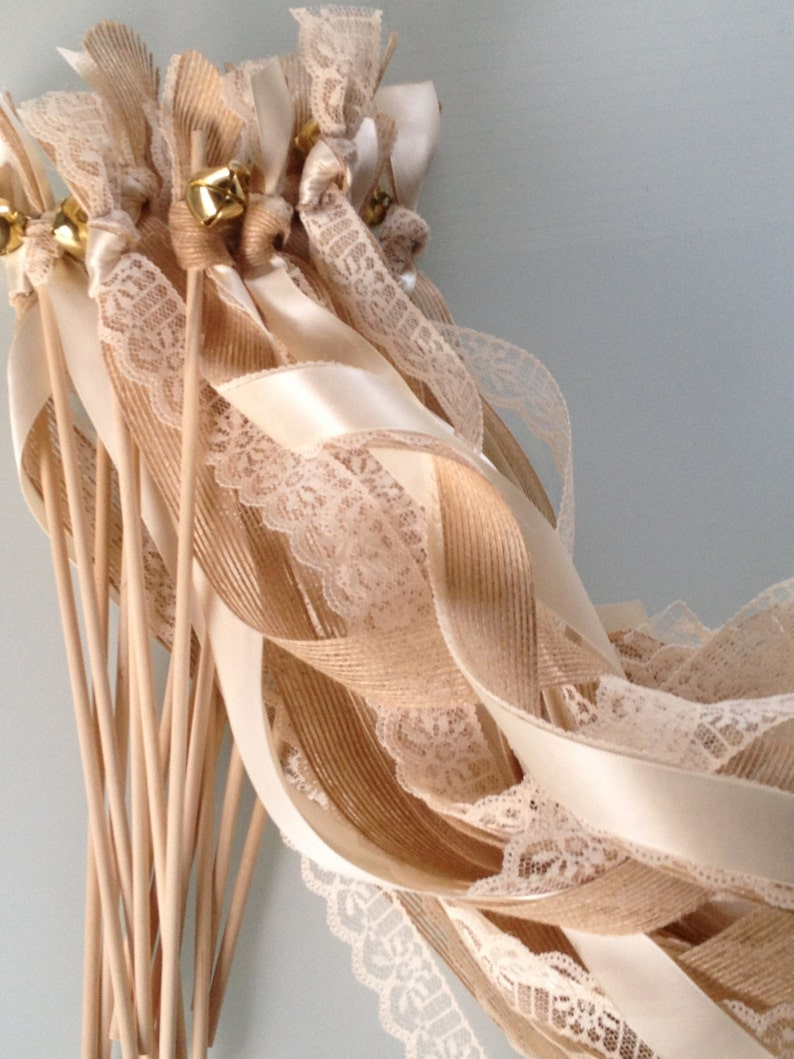 Ribbon and Bells with Lace 100 Triple Burlap Wedding Wands