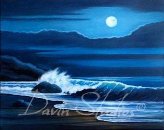 Moon Over the Ocean Moon Rising Over the Ocean Blue Moon Painting Signed Art Print
