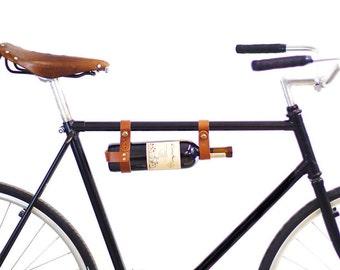 Bicycle Wine Rack - Tan Leather Bike Bottle Holder