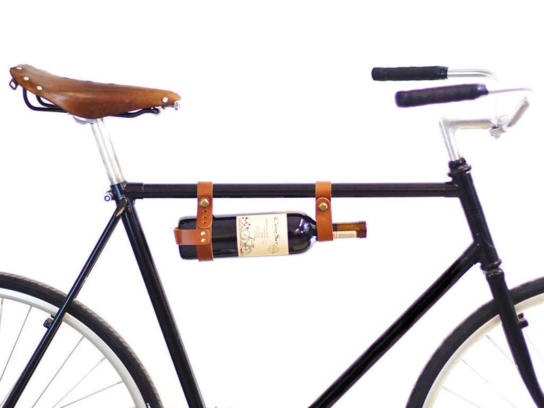 Bicycle Wine Rack  Leather Bike Bottle Holder image 0