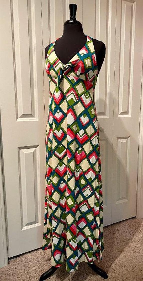 1970s Vintage Maxi Halter Dress, Size Medium, Brig