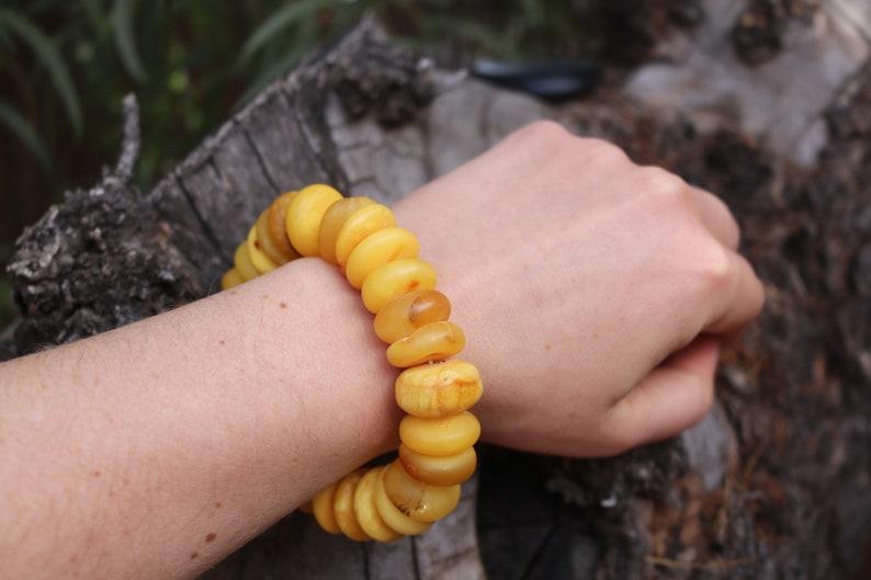 Baltic Amber Bracelet Raw Butterscotch Yolk Rondelle Unpolished Beads Natural Untreated Unisex 48.4 gram