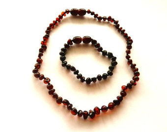 Baltic Amber Baby Anklet Teething Necklace Natural Cherry Set