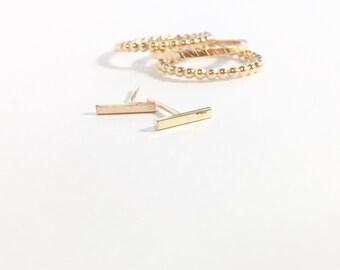 Minimlist Bar Stud Earrings 14k gold fill
