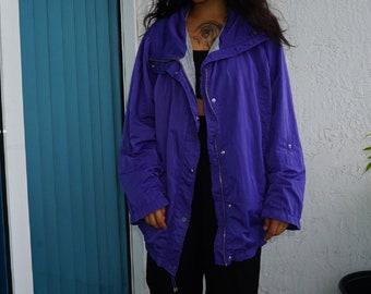 Purple vintage jacket, Unisex Light Weight Raincoat-Like Jacket, Vintage Unisex Jacket