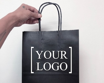 Custom Black Paper Gift Bags, Merchandise Bag, Party Bags, Retail Bags, Wedding Gift Bags , Low Quantities, Sturdy Bag with Handles