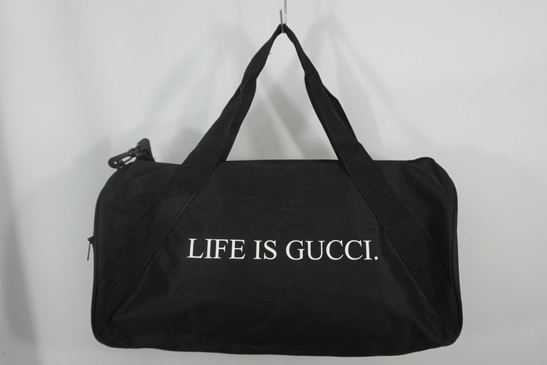 97dc86e681f0 Life is Gucci Duffle Bag Black Duffel Bag Weekend Travel | Etsy