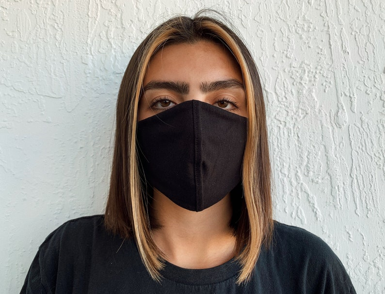 All Black Face Mask Sustainable And Reusable Washable Face Etsy