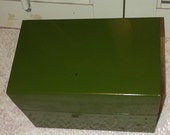 Vtg.Green Metal Recipe Box W complete set of index cards