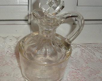 Vintage;Antique; Glass Oil Vinegar Bottle Cut Glass Stopper