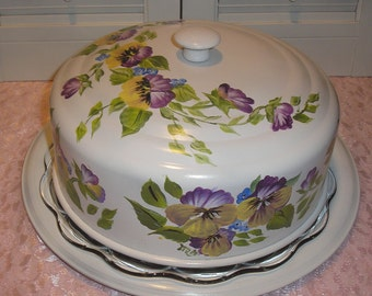 Handpainted H P Aluminum Pansy  Cake Carrier W/Glass Tray