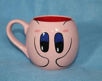 Small Kirby Ceramic Mug (Made to Order and Customizable)