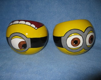 Yellow Minion Ceramic Tilted Bowl (Made to Order and Customizable)