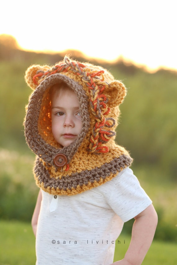 Lion Hooded Cowl Child Cowl Crochet Lion Cowl Animal Hat Etsy