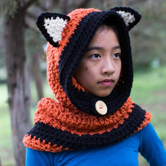 951cec44be3 Fox Cowl Hooded Cowl Crochet Fox Cowl Animal Hat Fox